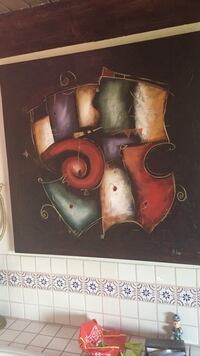 Black, red, purple, green and beige wall art Los Angeles, 90068