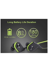 Black Wireless Bluetooth Magnetic Earbuds, Stereo, Mic, Sweatproof, Noise Cancelling Plantation, 33322