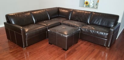 Chateau D'AX Genuine Leather 2-Piece L Sectional w/ Sleeper & Ottoman