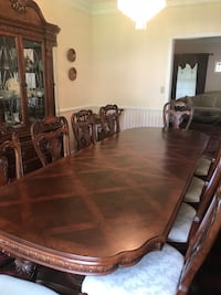 rectangular brown wooden dining table with chairs set Franklin, 02038