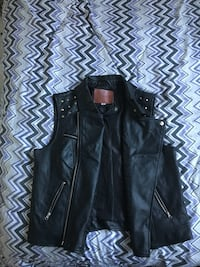 black leather zip vest
