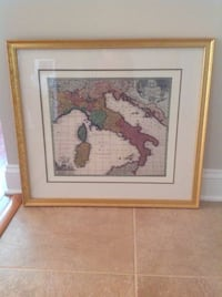 Wall Art Framed and Matted Print Map of Italy Jackson, 08527
