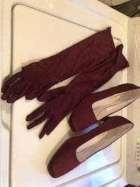 Prom/ Wedding / autumn Red Wine shoes & gloves Baltimore, 21230