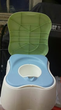 blue white and green potty trainer