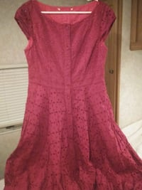 Magenta button down eyelet dress with pink underdress lining midcalf Oregon City, 97045
