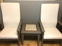 MCM grey white VINYL chairs & table Gobles