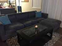 brown suede sectional couch with ottoman La Mirada, 90638