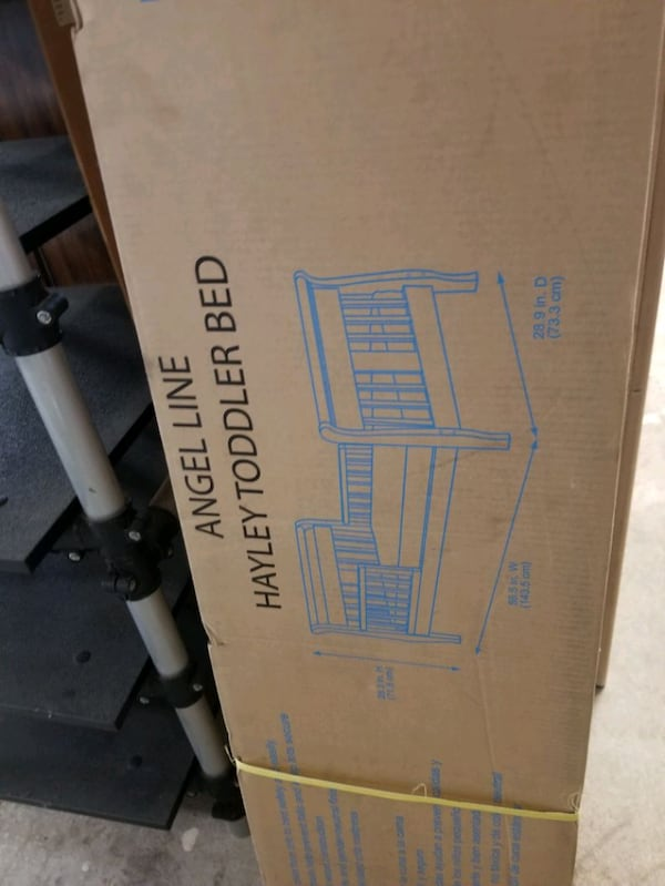 Brand New, Sealed, toddlers bed, color white, $45  690682bf-f5dd-45ad-836b-5492e4bcd33f