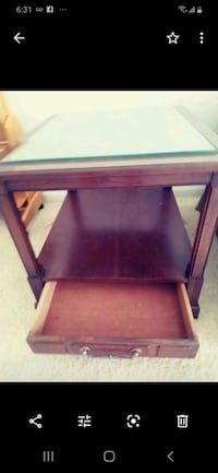 Glass top end table with drawer