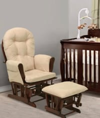 Brown wooden framed cream padded glider chair and ottoman Boston, 02121