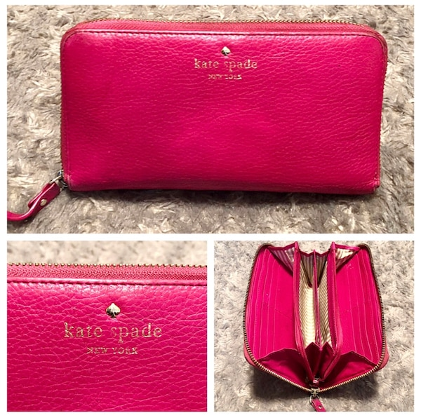 """Kate Spade wallet paid $178 good condition. The wraparound zip opens to a lined interior with a dividing zip pocket, checkbook compartment, 2 bill slots, and 12 card slots. Exterior back pocket. Measurements 7 ¾""""W x 4""""H x 1""""D. Has minor imperfections in o 69f0c18e-777b-403f-8ffd-8fcd13ebf929"""