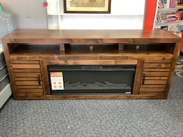 """Brand New Belle Isle 80"""" Solid Wood TV Stand w/42"""" Electric Fireplace"""