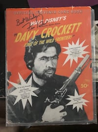 1954 Davy Crockett song book autographed by the man himself FESS PARKER Wylie, 75098