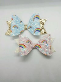 Glitter Rainbow Hair Bow on a clip Brampton