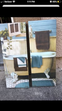 2 piece oil painting for bathroom