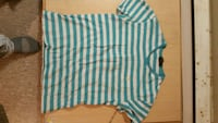 white and blue stripe long sleeve shirt St. Catharines, L2M