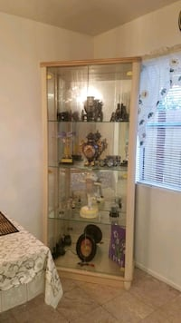 white wooden framed glass display cabinet Los Angeles County