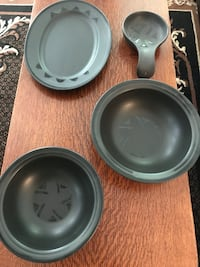 "Pfalscraff Black Stoneware serving pieces. Platter is 12"" x 9"". Serving bowls are 9 1/4"". Spoon rest/dip bowl (not Pfalscraff) is 8"" x 5"". Rarely used. Sterling, 20164"