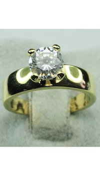 18k Gold Filled Engagement Solitaire Ring Size 5,8