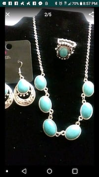silver and teal beaded necklace Lancaster, 93536