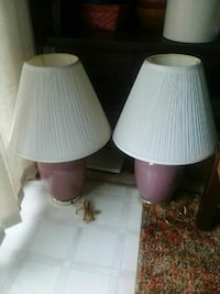 two purple base with white shade table lamps