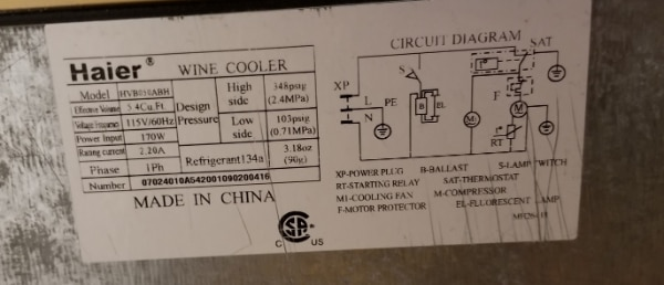 Haier Wine Cooler Wiring Diagram on