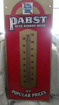 Vintage 1950 Pabst Blue Ribbon embossed thermomete