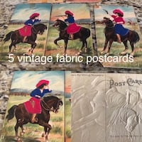 5 vintage fabric postcards from Germany and Spain. Very collectible. Fullerton, 92831