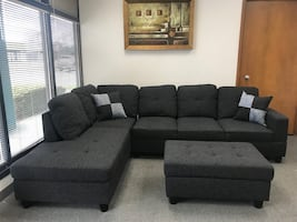 Charcoal linen sectional couch and ottoman brand new