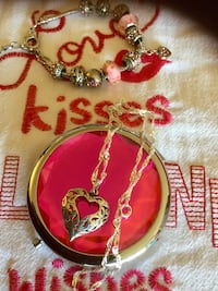 rling Silver Heart  necklace $ 28 /  Fashion Bracelet with heart $25 / Red Cowboy boot earrings