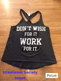 women's black and white Don'small Wish For It Work For It racer-back tank top