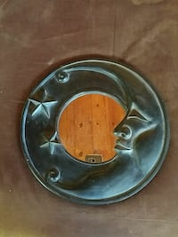 Wooden crescent moon wall mirror