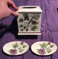 white and green floral ceramic bowl and plate