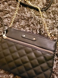 Small Gold Embellished Quilted Side Bag with Chain Strap