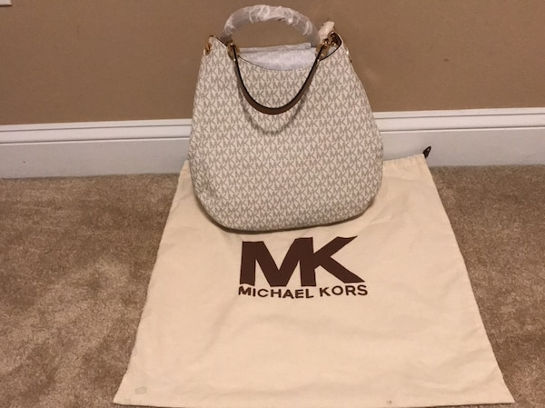 White and black michael kors leather tote bag