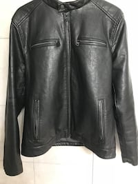 black leather zip-up jacket Levis brand new no tears