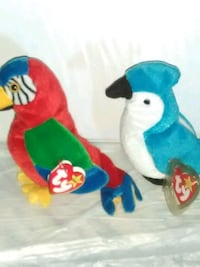 two blue and red TY Beanie Baby plush toys 2053 mi