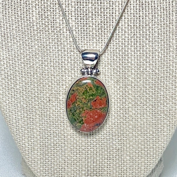 Vintage Sterling Silver Dragons Blood Jasper Pendant & Sterling Chain 898878a0-6673-45f7-9f1c-6165d2c5a5e2