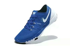 unpaired blue and white Nike running shoe
