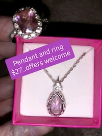 Pink silver ring& chain