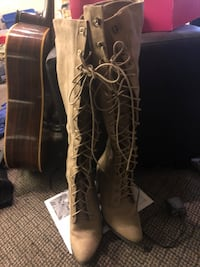 Tan/beige suede lace-up over the knee boots Omaha, 68104