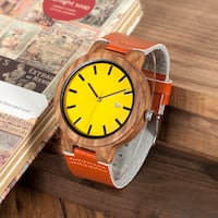 BOBO BIRD JUDY QUARTZ WOODEN WATCH WITH LEATHER STRAP BAND IN TAN