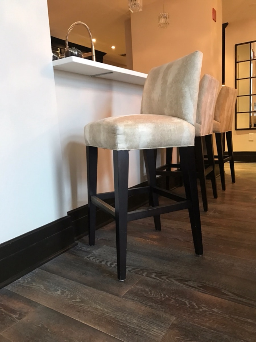 Used Off White Cushion Stools With Brown Wooden Frame In