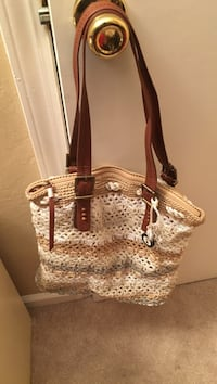 Brown and white knit shoulder bag Concord, 94521