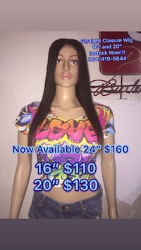 """Straight Virgin Human Hair Closure Wigs, available in 16, 20, or 24"""" starting at Jacksonville, 32210"""