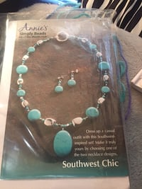 Annie's teal and white simply beads necklace Eldred, 16731