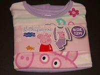 NEW WITH TAGS- 12 MONTHS- PEPPA PIG - 2 PC LONG SLEEVED COTTON PAJAMA SET  Sarnia, N7T 1J2