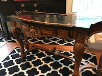 brown wooden framed glass top coffee table Annandale, 22003
