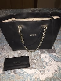 Black leather guess tote bag