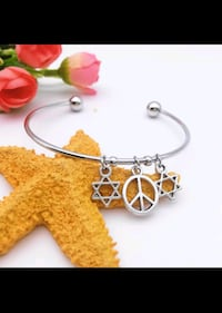 New silver tone peace star of David cuff bracelet Montreal, H8T